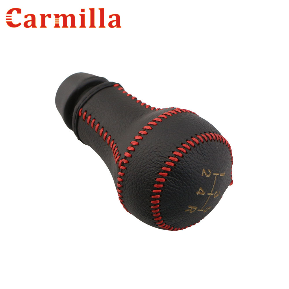 Carmilla Car Leather 5 Speed Manual Gear Head Lever Knob Cover Gear Shift Collars for Peugeot 206 207 306 307 406 Accessories