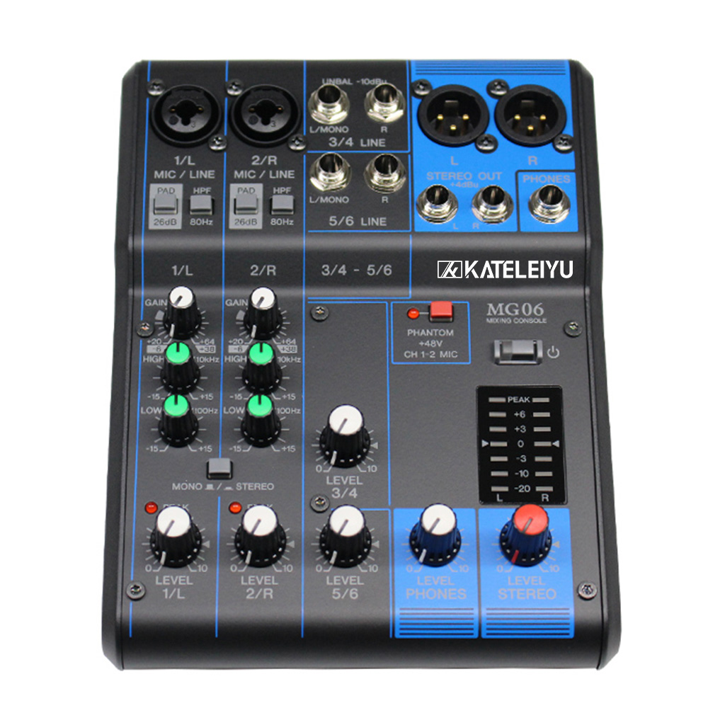 цена на Audio mixing console MG06 analog mixer 6 road small stage professional audio console band commercial speech monitor the effect