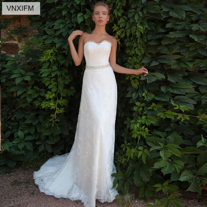 Sweetheart Neckline Lace Mermaid Wedding Dresses New 2019: VNXIFM 2019 New Strapless Sweetheart Neckline Lace