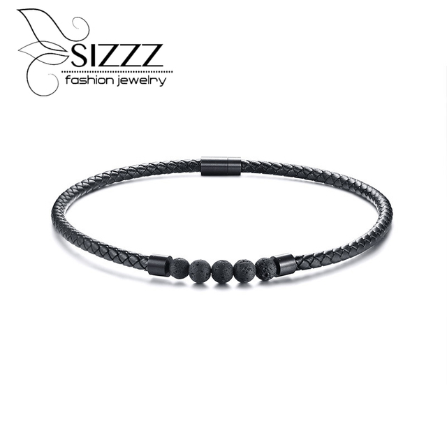 SIZZZ Stainless steel magnetic buckle stone leather collar black color necklace/torques for men