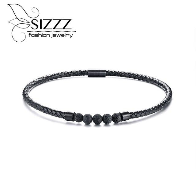 SIZZZ thép Không gỉ khóa từ tính đá da cổ áo màu đen màu vòng cổ/miếng cho nam giới