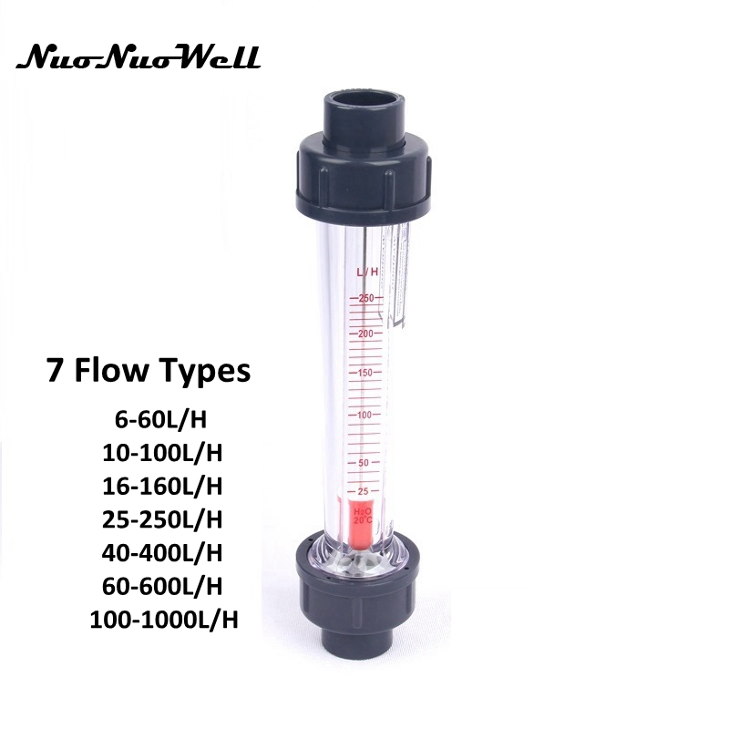 1 stück NuoNuoWell Kunststoff Durchflussmesser 6-60L/H 10-100L/H 25-250L/H 100-1000LH Liquid Wasserdurchflussmesser Rotameter