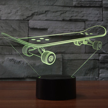 Skateboard 3D Touch LED Illusion Night Light Flash cambia colore USB lampada da scrivania regali
