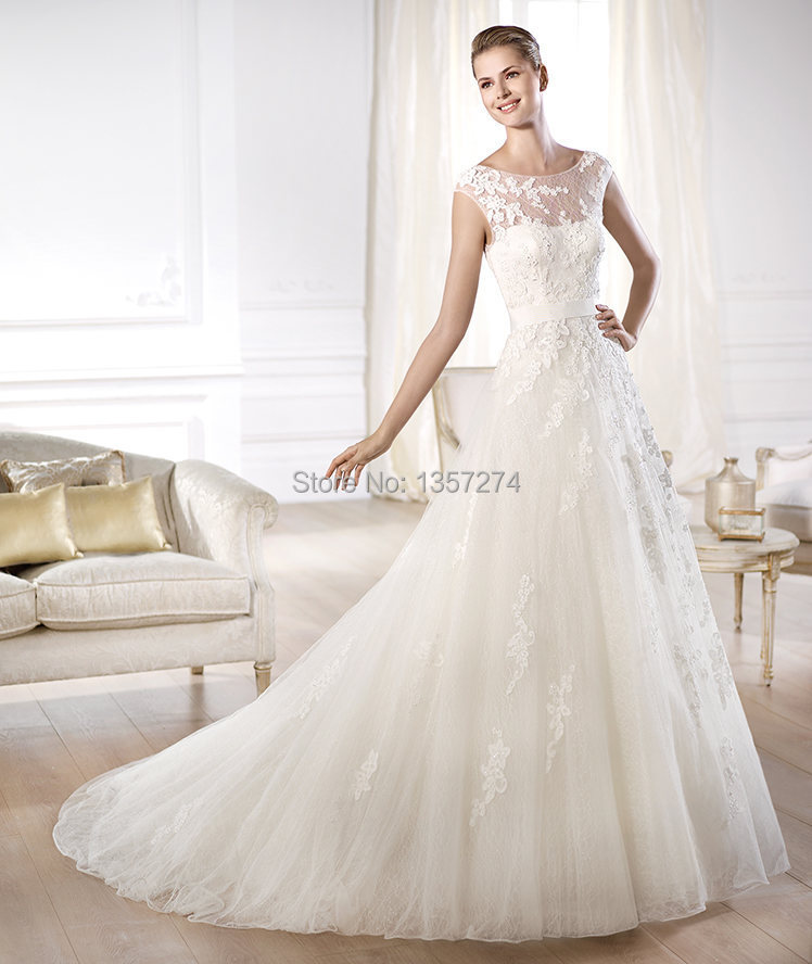 Illusion Neckline Wedding Gown: Free Shipping High Neck Bride Gowns Illusion Low Back Lace