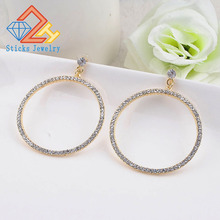 Suteyi Fashion Rhinestone Round Geometric Drop Earrings For Women Jewelry Gold Rose Color Statement Earrings chic women s rhinestone geometric rose gold ring