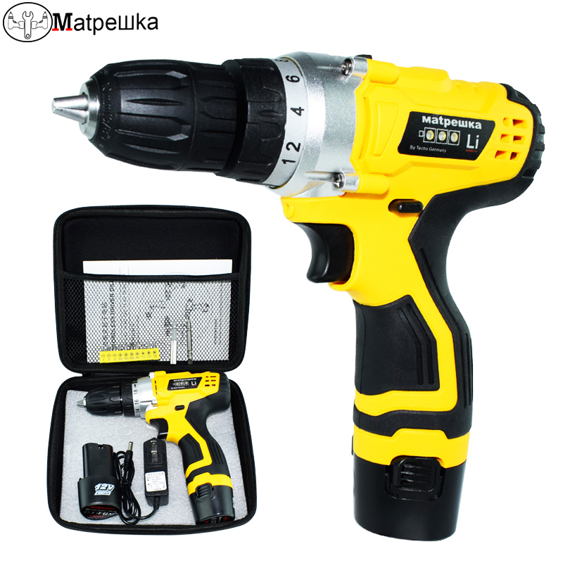 12V Electric Drill Electric Screwdriver Rechargeable Battery Screwdriver power tools  Have Power display 2 battery+Bag packaging 220v electric drill power tools