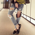 Vintage Denim Holes Pants 2016 New Fashion Ripped Jeans Femme Casual loose Washed Jeans for Women Regular Long Torn Jeans Wild