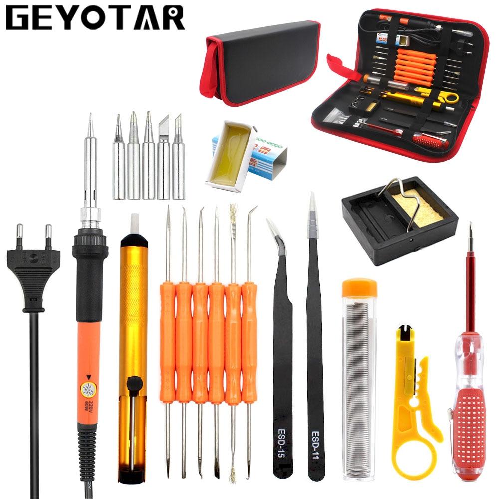 GEYOTAR EU 220 V 60 Watt Temperaturregler Lötkolben Kit Entlötpumpe Zinn-draht Pinzette Schweißen Reparatur Werkzeuge mit Lagerung tasche