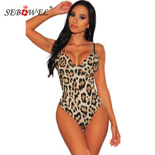 SEBOWEL Leopard Print Backless Woman Bodysuit Sexy V-neck Sleeveless Open Back Animal Prints Body Top Clothes Female Party Night open back winky eye print tank bodysuit