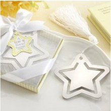 100PCS/LOT wedding favor party gift of star  shape bookmark, with tassel festival Christmas