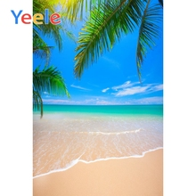Yeele Seaside  Backgrounds Summer Tropical Palm Tree Beach Sand Waves Blue Sky Scenic Photographic Backdrops For Photo Studio