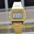 Americano velho Levou moda lava Relógio Casal relógio digital quadrado de prata de ouro de Aço homens e mulheres se vestem relógios desportivos militares