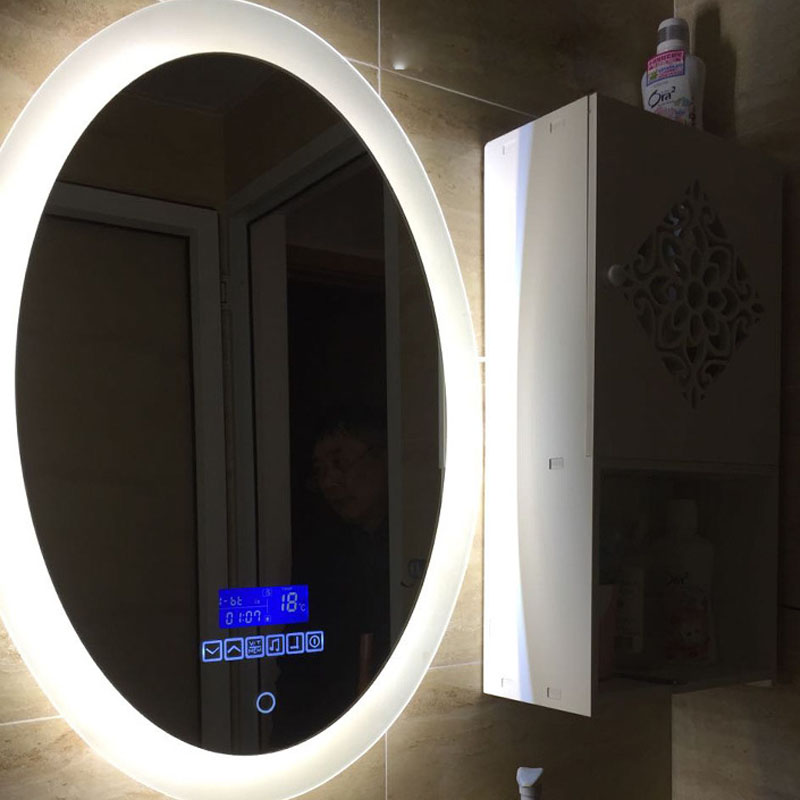 Oval Bath Smart Mirror European Wall Mirror Bathroom LED Need Electricity Power Toilet Anti-fog Touch Screen Mirrors Bluetooth