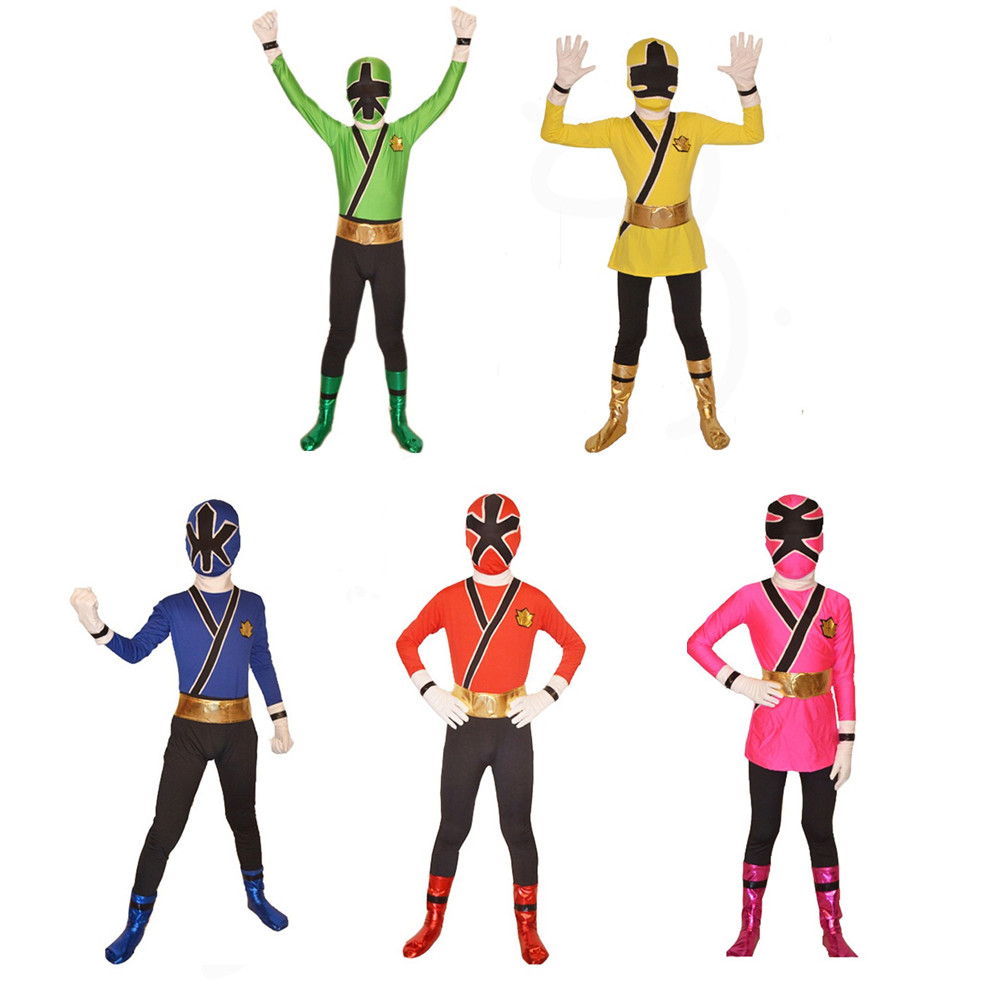 Samurai Sentai Shinkenger Costume Kids Samurai Cosplay Children Halloween Costumes for Kid Superhero Samurai Rangers Zentai Suit