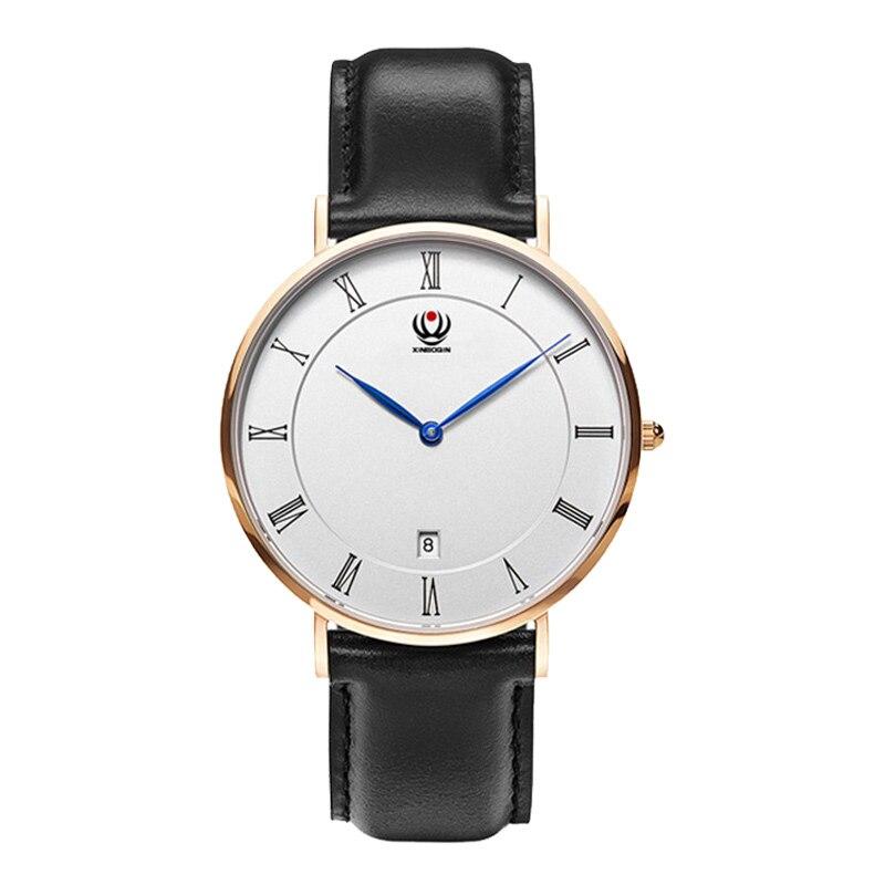XINBOQIN męskie zegarki marki proste mody ultra-cienki biznes prawdziwej skóry Wrist watch rzymski zegarek z kalendarzem kwarcowy Relojes