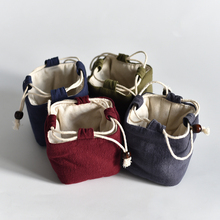 Portable Travel Small  Tea Cup Bag Cotton Filled Handmade Cloth Drawstring Plain Linen Storage 1pcs