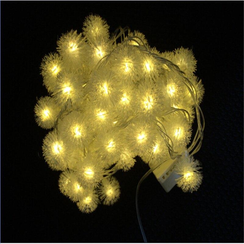 10M 50 LED Furry Ball RGB Edelweiss Snowflake rəhbərlikli String - Bayram işıqlandırılması - Fotoqrafiya 5