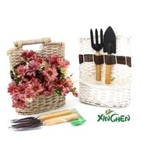 26X20 CM Nowy ręcznie wykonane ręcznie robione drewniane pół ramka kosz kwiatów doniczka widelec