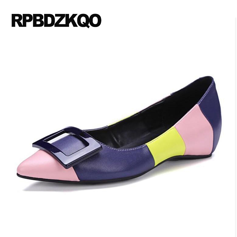 High Quality Pointed Toe Italian Luxury Brand Shoes Women Black And White Cowhide Metal Flats Hidden Elevator Rainbow Designer new 2017 spring summer women shoes pointed toe high quality brand fashion womens flats ladies plus size 41 sweet flock t179
