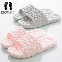 KESMALL Family Hollowed Out Mules Love Soft Flat Flip Flops Women Summer PVC Home Slippers Indoor Mens Korean Bathroom