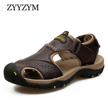 ZYYZYM Men Sandals Summer Genuine Leather Casual Shoes Plus Size 38-46 Outdoor Beach Male Rubber Sole Sport