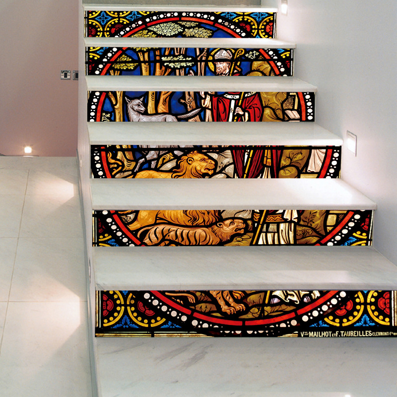 Image 2 - Religious Backsplash Tile Stickers DIY Tile Decals Mexican Traditional Waterproof Stick Home Decor StairCase Decal Stair Mural D-in Wall Stickers from Home & Garden