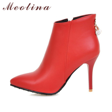 Meotina Women Boots Ankle Boots for Women 2018 Winter High Heels Short Boots Rhinestone Ladies Shoes Zip Red White Size 44 45 11