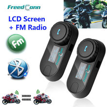 Original FreedConn actualizado TCOM-SC BT Bluetooth intercomunicador para casco de motocicleta interfono auriculares con pantalla LCD + Radio FM(China)