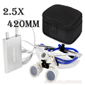 Set! Black Dentist Dental Surgical Medical Binocular Loupes 3.5X and 2.5x Optical Glass Loupe+LED Head Light Lamp+case