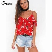 CWLSP 2018 Women Chiffon Blouse Red Floral Print Crop Top Ruffles Sleeve Blusas Off Shoulder womens blouses QL2953