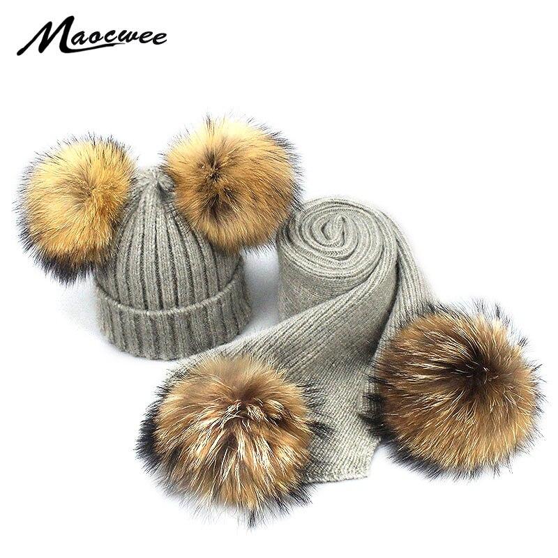 Autumn Winter Women Wool Beanies Hats Real Fur Pom Pom Hat Scarf Set Parent-child Crochet Knitted Children Wool Soft Solid Bone