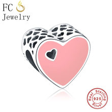 FC Jewelry Fit Original Pandora Charm Bracelet 925 Silver Pink Love Enamel Heart Hole Shaped Bead Making Accessories Berloque(China)