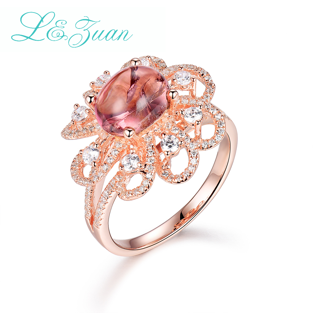 I&Zuan 925 Sterling Silver Jewelry Rings For Women Tourmaline Red Stone Flower Shape Design Trendy Rings Fine Jewelry 2966 edi trendy swan shape animal 100% 925 sterling silver rings for women ctue jewelry christmas gifts