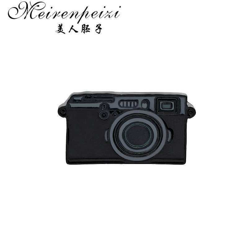 Meirenpeizi Camera Brooch Punk black Digital Camera Enamel Pins Coat Cap Backpack Photography And Kids Badge Gifts