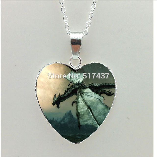 2017 new skyrim dragon heart necklace glass how to train your dragon 2017 new skyrim dragon heart necklace glass how to train your dragon heart jewelry silver heart mozeypictures Gallery