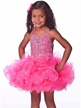 Unique Fashion Ball Gown Flower Girl Dresses With Spaghetti Jeweled Bodice Short Pageant Dress For Girls  Zipper