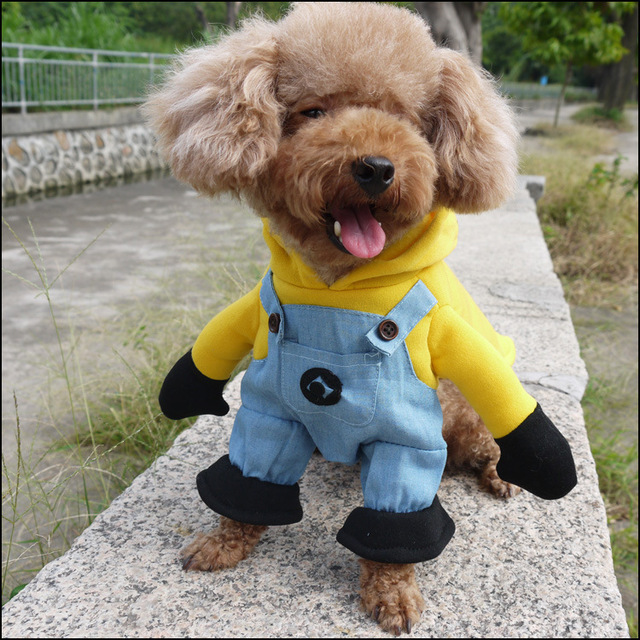 Funny Halloween Pet Cat Dog Minions Costume Cosplay Small Dog Puppy Party Jacket Coat Clothing Chihuahua