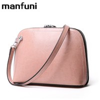 MANFUNI Vintage Cow Genuine Leather Handbag For Women Day Clutches Wristlets Shell Bags Female Crossbody Bags