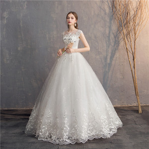 Image 2 - Ezkuntza 2019 ダイヤモンドのレースのウェディングドレス o ネックビーズボールガウンシンプルな格安のウェディングドレス王女のウェディングドレス