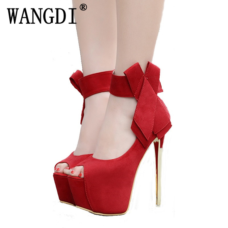 Women Heels Shoes Sexy Peep Toe Platform Sandals Women Fashion Butterfly High Heels 16cm Ladies Gladiator Stiletto Platform Shoe summer woman green high heels fashionable 16cm stiletto platform shoes sexy ankle buckles hollow out design peep toe shoes