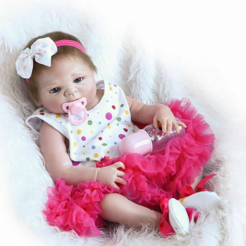 Full Silicone Vinyl Lifelike Reborn Baby Dolls 23 inch Newborn Babies Girl That Look Real Princess Toy Kids Birthday Xmas Gift  realistic full vinyl 18 inch american doll girl baby reborn newborn dolls so truly real princess girls kids birthday xmas gift