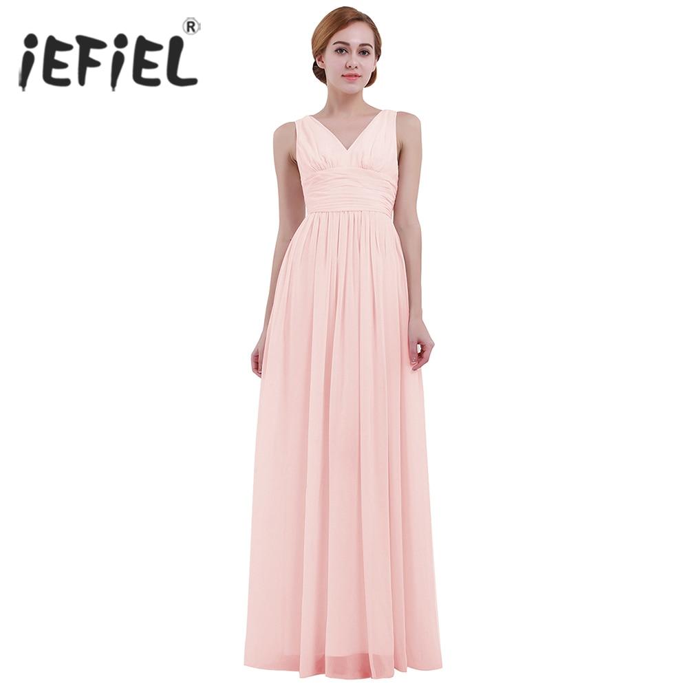 Pink Summer Women S Ladies Sleeveless Deep V Neck Vestidos Chiffon For Bridesmaid Dress Long Evening
