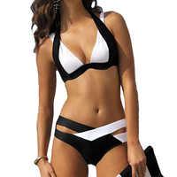 Cheap Plus Size Swimsuit Sexy Solid Bikini Set 2018 Biquini Women Swimwear America Girl's Swimming Suit Swimsuit Beach Wear