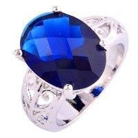 JROSE Wholesale Fashion Oval Cut Sapphire 925Silver Ring Size 7 8 9 10 For Women/Men Gift Free Shipping Wonderful Gift