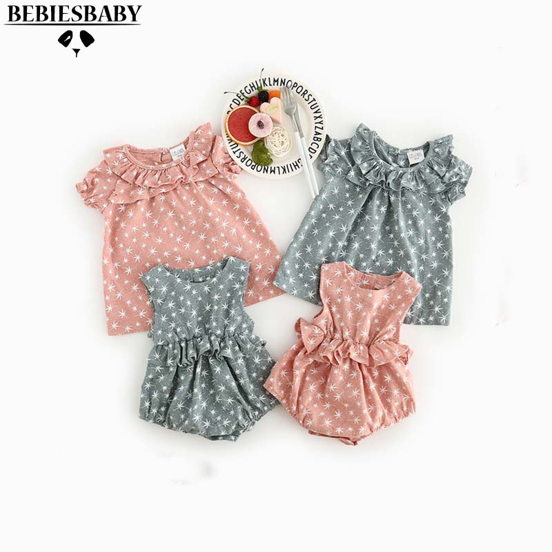 2017 Ins Rompers with Tree Pattern Sweet Pink Green Baby Jumpsuit With Flower Neck Sweet Girls Kids Rompers Newborn Infant 6M-3Y baby rompers o neck 100