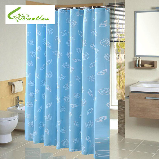 High Quality Waterproof Mediterranean Blue Printing Custom Shower Curtain With Hooks Bathroom Curtains For Home Decorations