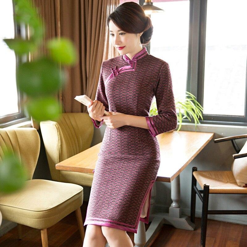 The Gentle and Elegant 3/4 Long Sleeve Polo Cheongsam Retro Daily Slim Dress Cheongsam