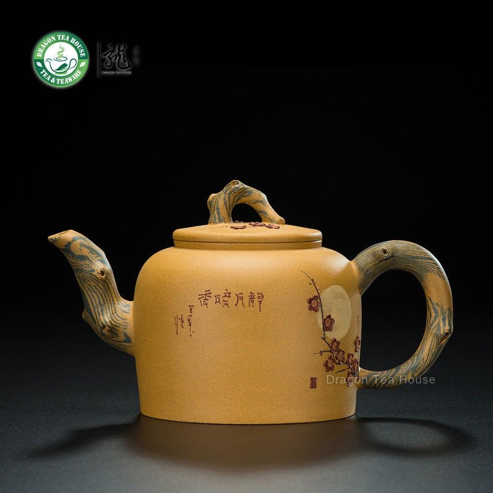 Желтый цветок сливы ручной работы Китайский Исин Zisha Красной глины чайник 330 мл