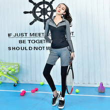 Women Plus Size M-4XL Yoga Set Jacket Tracksuit For Women Elastic Fitness Yoga Legging Women Tights Clothing Gym Running Outdoor