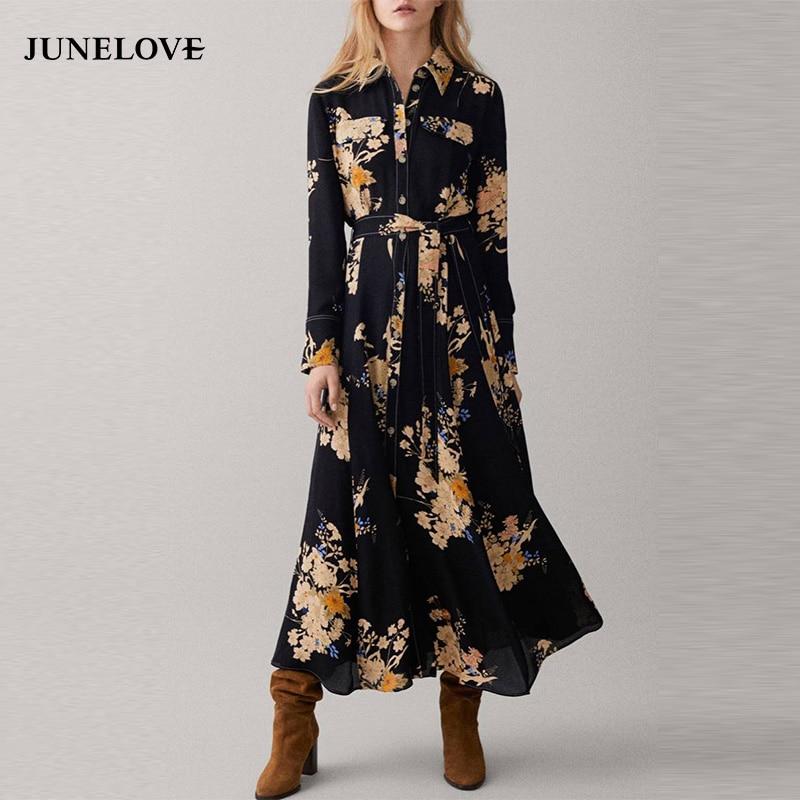 d985c9cf6b20c JuneLove Women Long Sleeve Sashes Maxi Dress Vintage Street Female Print  Floral Long Dress Casual Belt Button Lady A-Line Dress